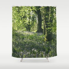 Wild Bluebells in ancient woodland. Wayland Wood, Norfolk, UK. Shower Curtain
