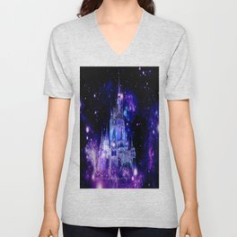 Celestial Palace : Purple Blue Enchanted Castle Unisex V-Neck