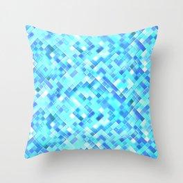 Sky Blue Bright Mosaic Squares Throw Pillow