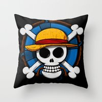 luffy Throw Pillows featuring On pirate by le.duc