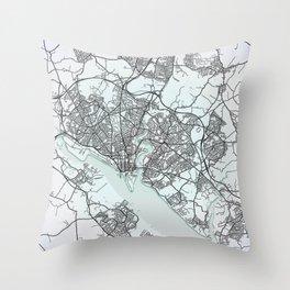 Southampton, England, White, City, Map Throw Pillow