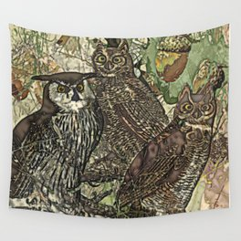 My owls in batik style Wall Tapestry