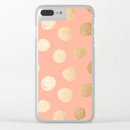 Sweet Life Polka Dots Peach Coral + Orange Sherbet Shimmer Clear iPhone Case
