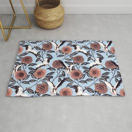 Roses and cranes Rug