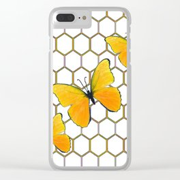 YELLOW BUTTERFLIES ON WHITE HONEY COMB PATTERN Clear iPhone Case