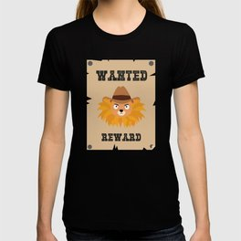 Wanted Wildwest lion poster T-Shirt Dtg7j T-shirt