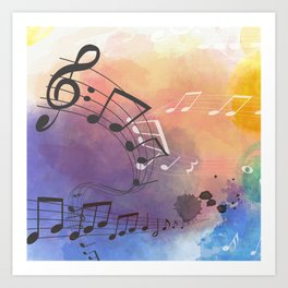 Watercolor Background With Musical Note Symbols Art Print