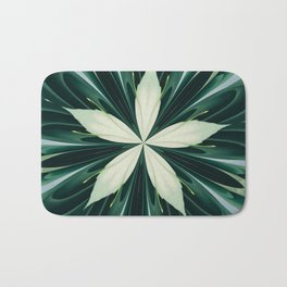 White Leaves In A Green Forest Kaleidoscope Bath Mat