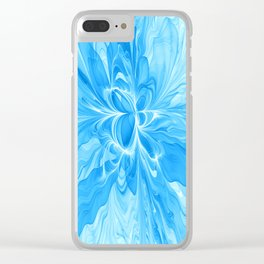 Blue Jeans Colors And White, Abstract Fractal Art Clear iPhone Case