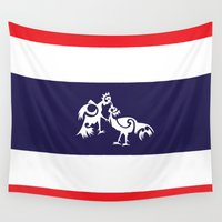 thailand Wall Tapestries featuring Thailand Flag, Roosters Sparring by mailboxdisco