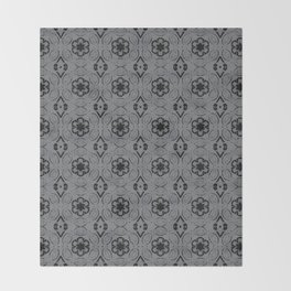 Sharkskin Floral Geometric Pattern Throw Blanket
