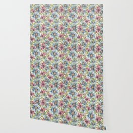 Hibiscus Vintage Pattern Wallpaper