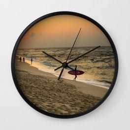 Sunset Surfer Wall Clock
