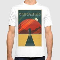 Vintage Adventure Travel Phobos and Deimos MEDIUM Mens Fitted Tee White