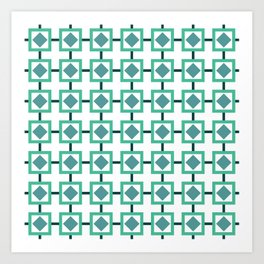 BOXED IN, TURQUOISE Art Print