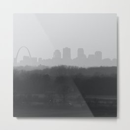 St. Louis Skyline in Black and White Metal Print