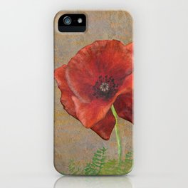 Poppy Resistance 03 - hand-drawn Flower Illustration, grunge texture iPhone Case