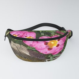 Picket fence and pink flowers Fanny Pack
