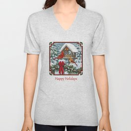 Red Cardinals and Christmas Bird Feeder Unisex V-Neck