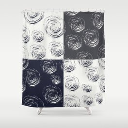 Circular Strokes Patched Pattern I Shower Curtain