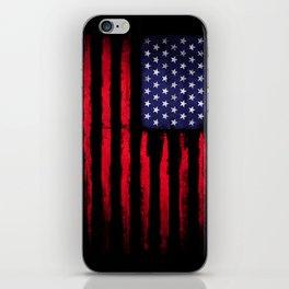 Vintage American flag on black iPhone Skin
