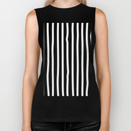 White drawing stripes - black and white  striped pattern Biker Tank