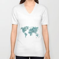 vintage map V-neck T-shirts featuring World Map Blue Vintage by City Art Posters