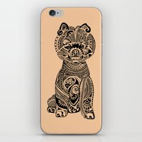 pomeranian iPhone & iPod Skins featuring Polynesian Pomeranian by Huebucket