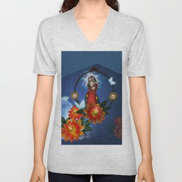 Funny cute parrot with flowers Unisex V-Neck