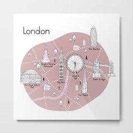 Mapping London - Pink Metal Print
