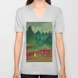 Vintage Japanese Woodblock Print Rainy Day At The Shinto Shrine Tall Pine trees Yellow Rain Coat Unisex V-Neck