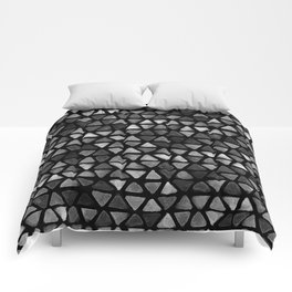 Triangle Watercolor Seamless repeating Pattern - Black and White Comforters