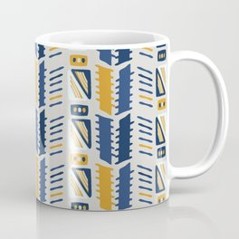 Memphis Style Geometric Abstract Seamless Vector Pattern Yellow and Blue Coffee Mug