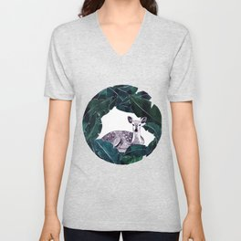 Deer circle painting Unisex V-Neck