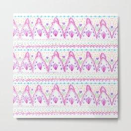 Pink Purple Pretty Bohemian Lace Watercolor Aztec Metal Print