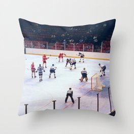 Vintage Ice Hockey Match Throw Pillow