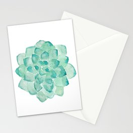 Watercolor Succulent print in seafoam green Stationery Cards