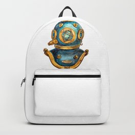 Old Scuba Diver Helmet Mask Painting Backpack