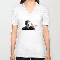 dexter V-neck T-shirts featuring Dexter by Crazy Thoom