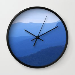 Layers of mountains at dusk, Blue Mountains, NSW, Australia Wall Clock
