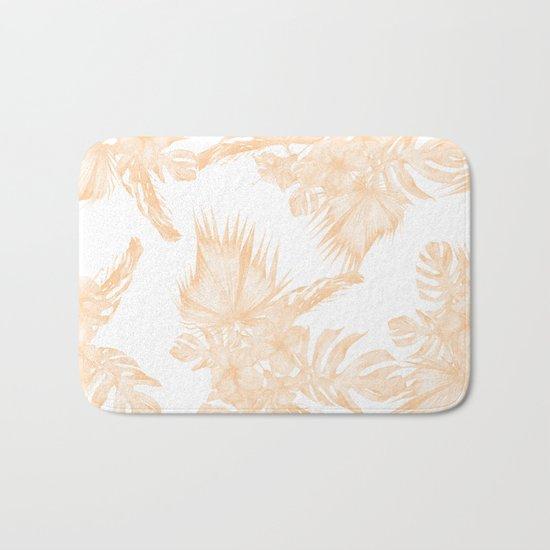 Island Vacation Hibiscus Palm Coral Apricot Orange Bath Mat