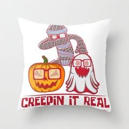 Halloween pumpkin ghost mummy joke glasses gift Throw Pillow