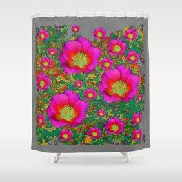 Charcoal Grey Design Fuchsia Roses Floral Garden Art Shower Curtain