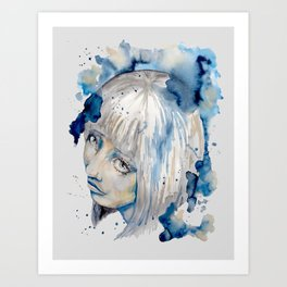 Nieves watercolor portrait by carographic Art Print