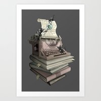 bookworm Art Prints featuring Bookworm by BlancaJP - Jonna Piltti