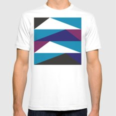 Blue Purple Triangle Pattern Mens Fitted Tee MEDIUM White