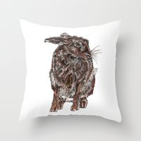 hare Throw Pillows featuring Hare by Meredith Mackworth-Praed