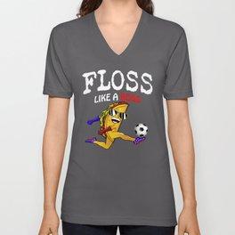 floss like a boss  funny mustache taco floss dance Unisex V-Neck