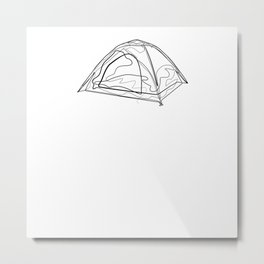Tent Camping - One Line Drawing Metal Print