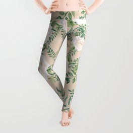 Garden Roses Mandala Pink Green Cream Leggings